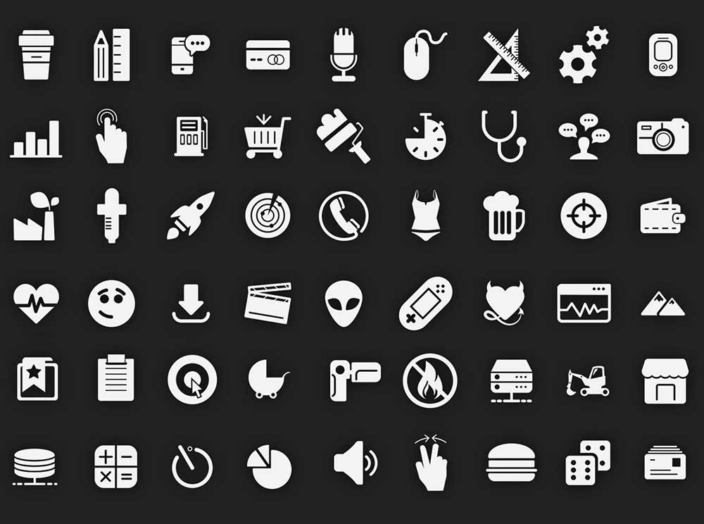 filled glyph icons pack