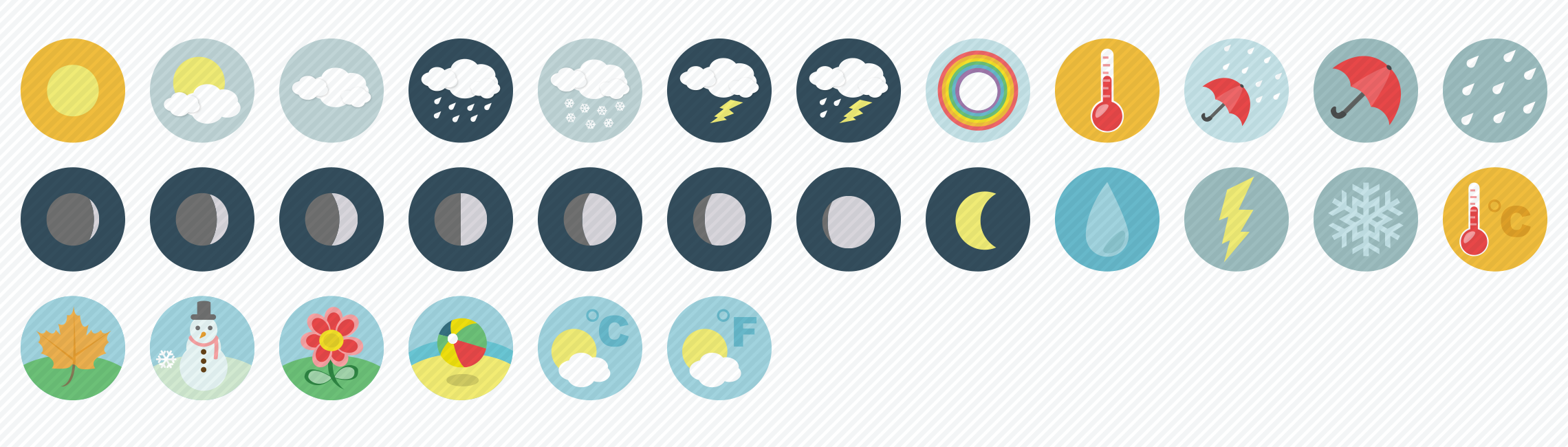 weather-flat-icons-set