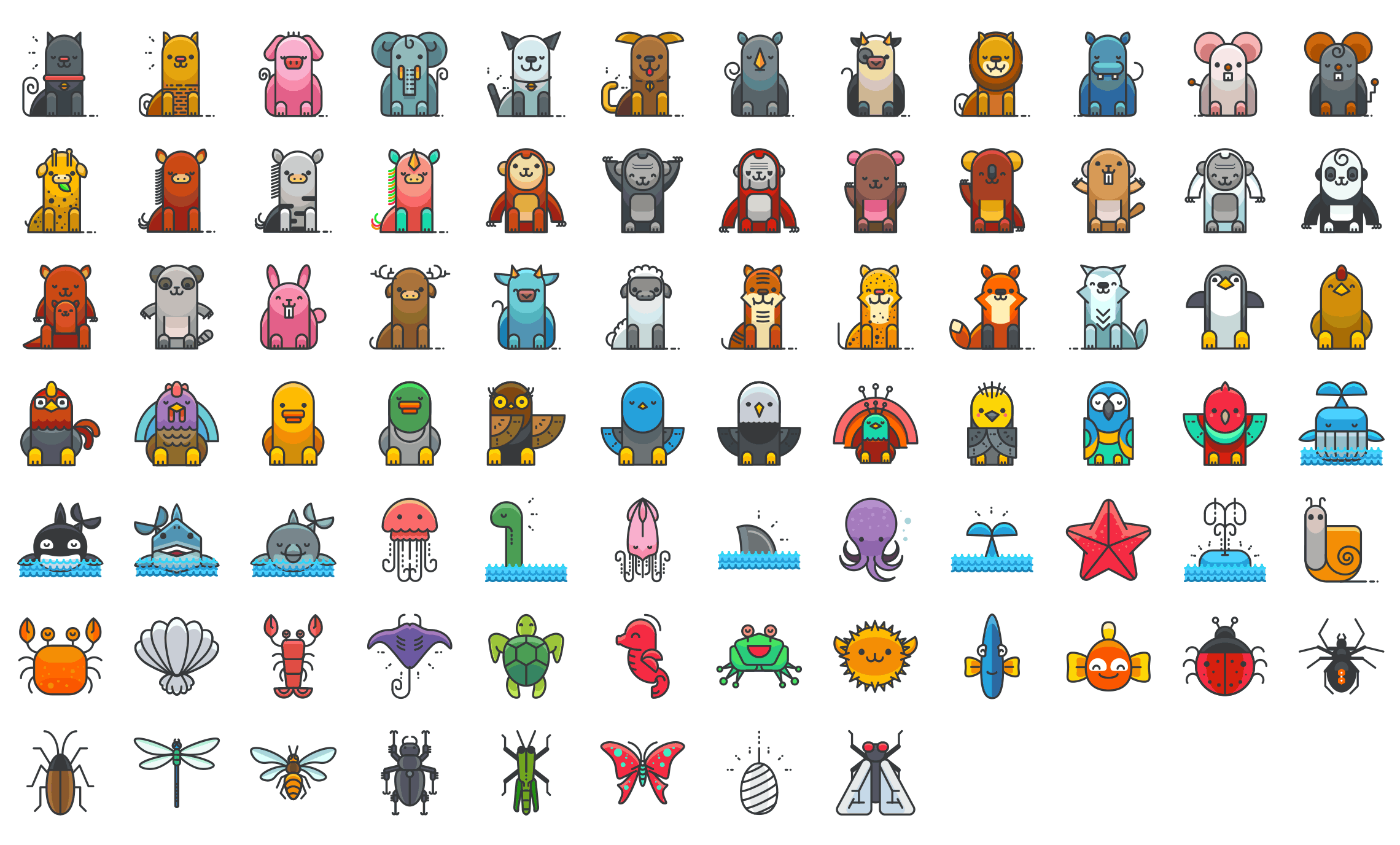 Animals-filled-outline-icons