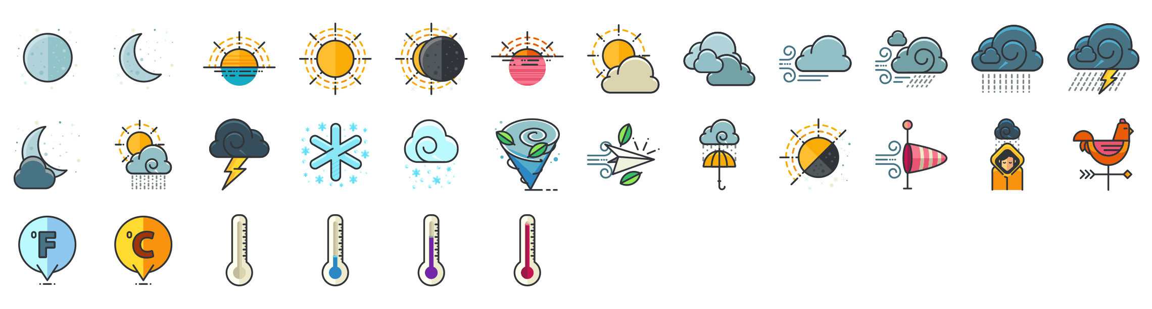 Weather-outline-icons