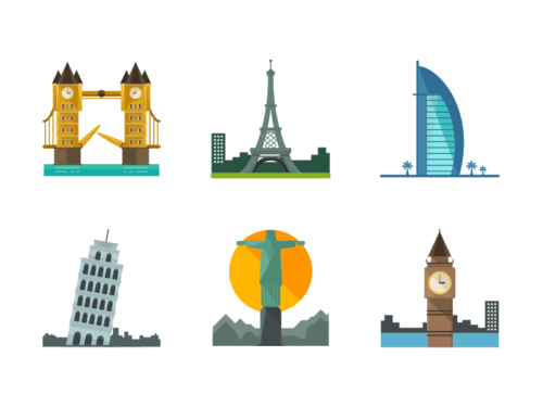 world monuments flat icons