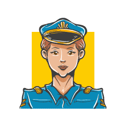 police woman hand drawn avatar icon