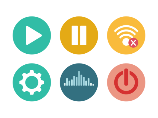 Audio and Video controls flat round icons