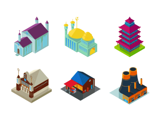 Community buildings isometric icons