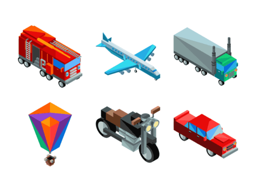 Transportation Isometric Icons