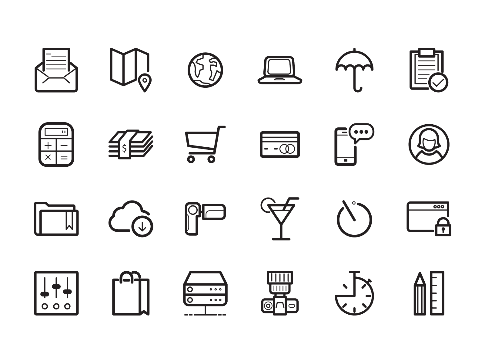 vector outline icons pack