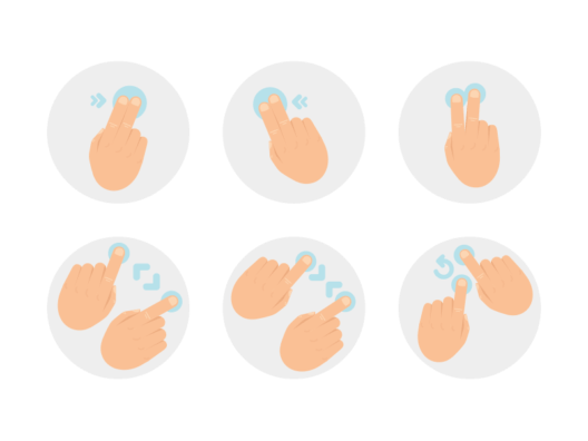 hand gestures flat round icons