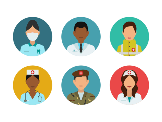people medical flat round icons