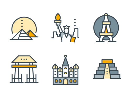 world monuments filled outline icons