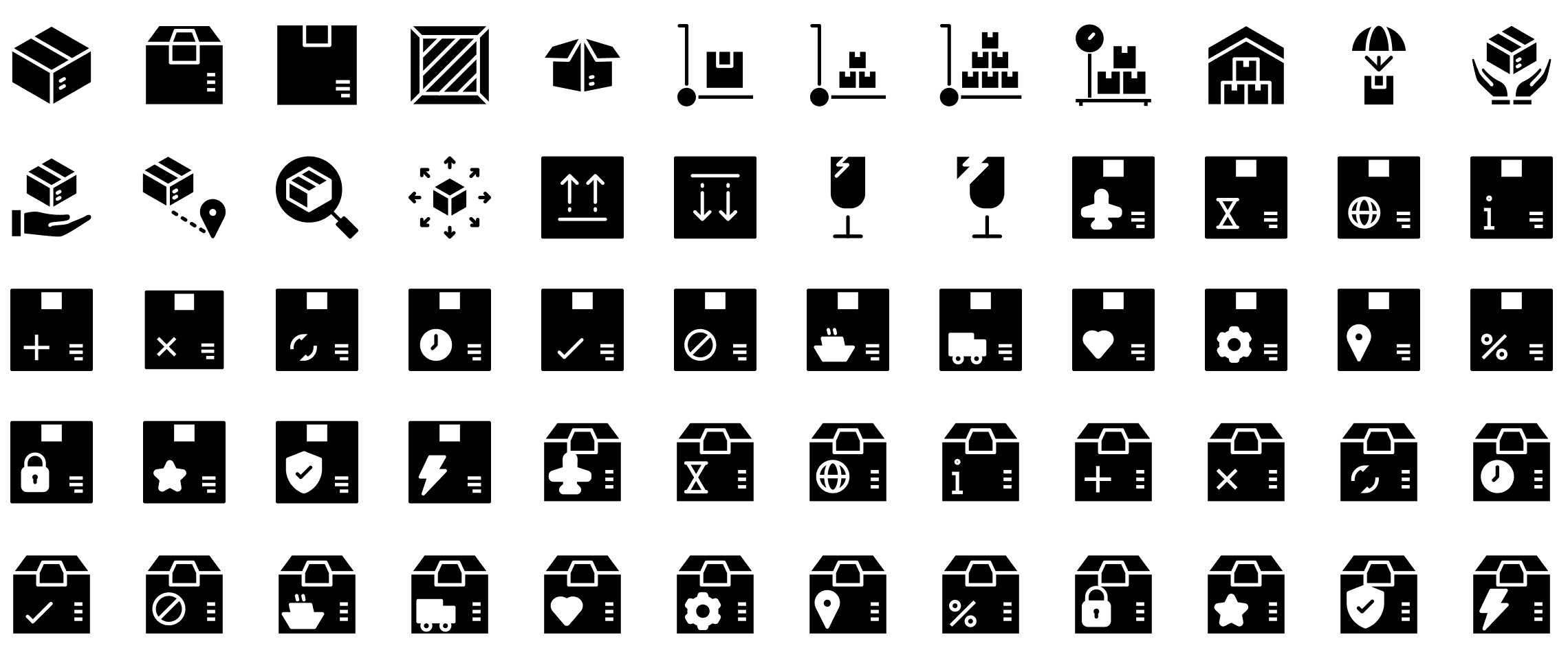shipping-and-delivery-glyph-icons-preview