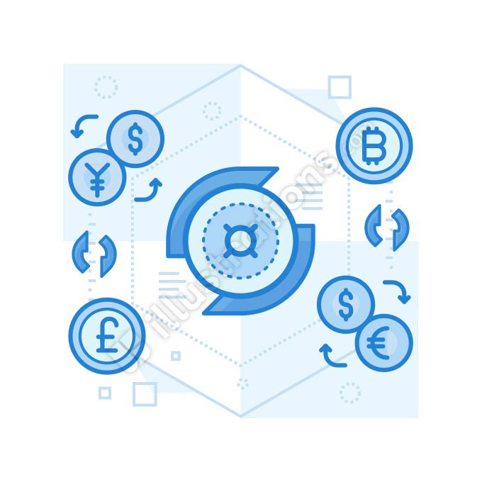money-exchange line illustration